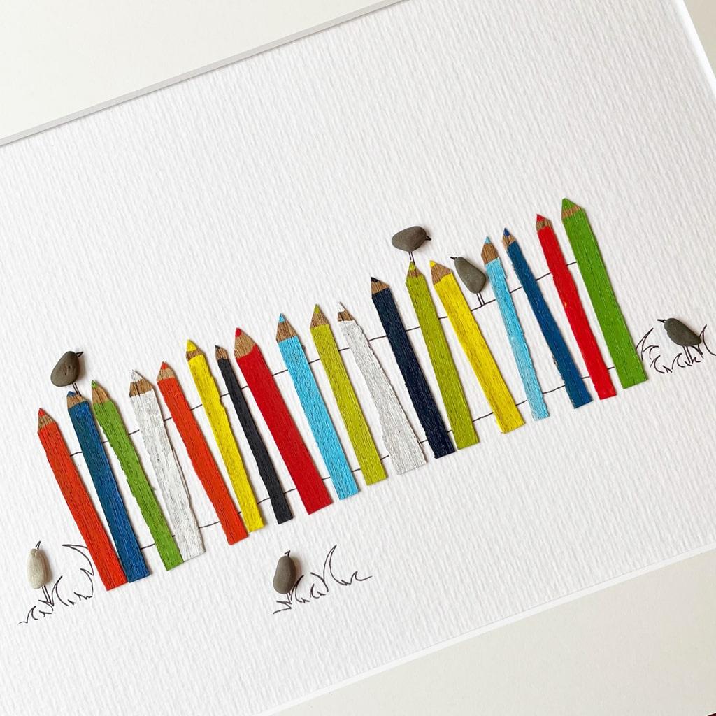 Vögel auf Bleistiftzaun von Kieselsteinkunst.de