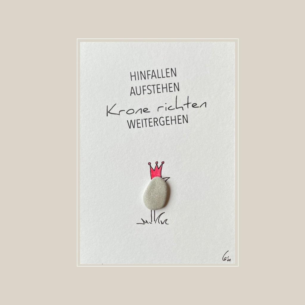 Spruchkarte Krone von Kieselsteinkunst.de