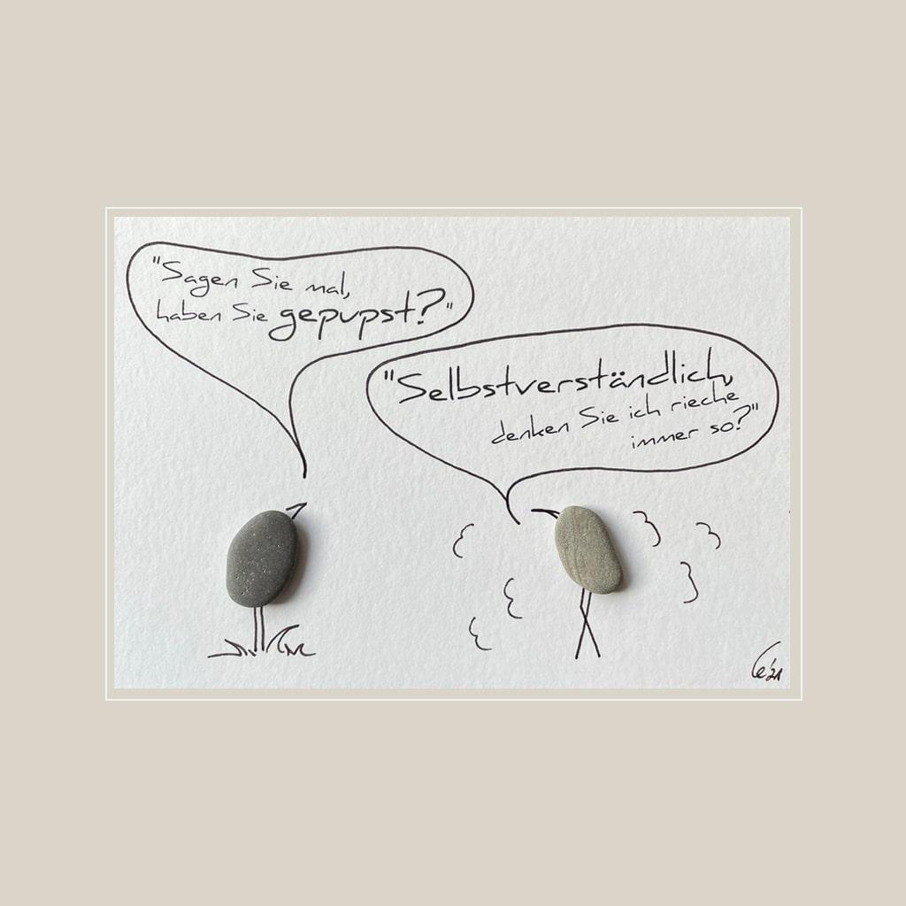 Spruchkarte Pups von Kieselsteinkunst.de