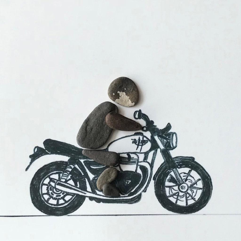 Mototradfahrer Triumphmotorad von Kieselsteinkunst.de