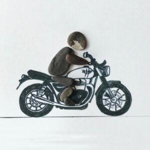 Motorradfahrer von Kieselsteinkunst.de