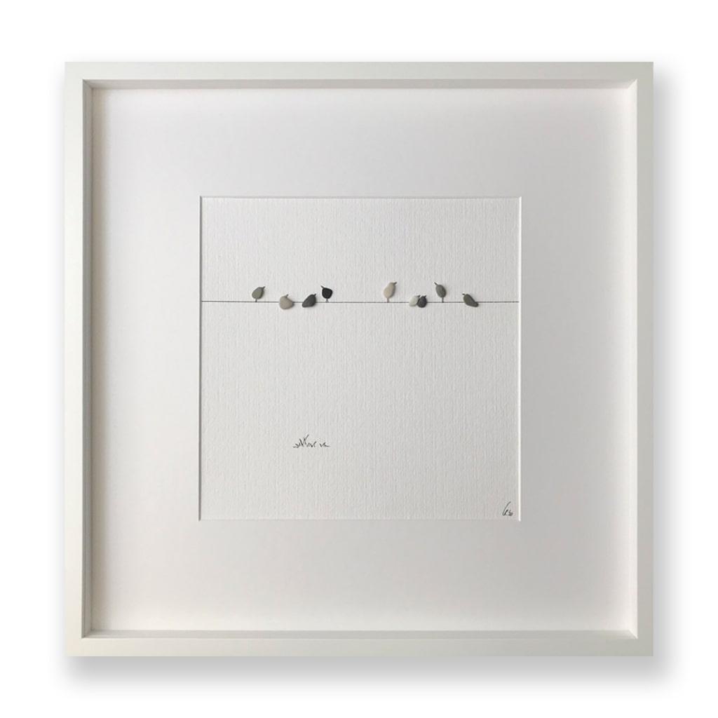 Vögel auf Leine von Kieselsteinkunst.de
