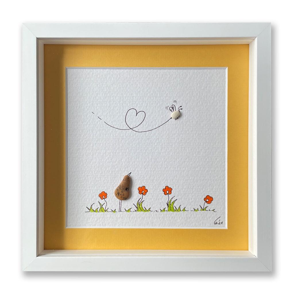 Vogel mit Biene von Kieselsteinkunst.de